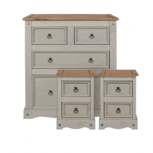 Premium Corona Grey Wash and Pine Chest Set